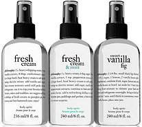 philosophy refreshing 8 oz body spritz trio - A293520