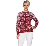 Bob Mackie's Lace Print Long Sleeve Button Front Cardigan - A293820