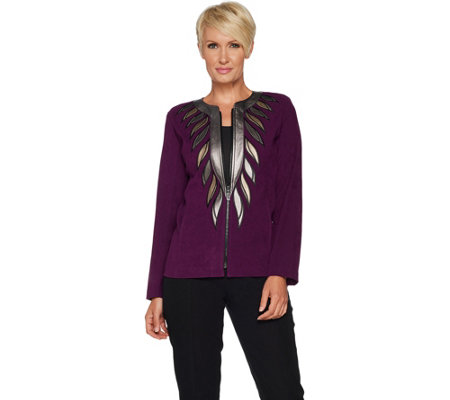 Bob Mackie's Faux Leather Trim Zip Front Jacket