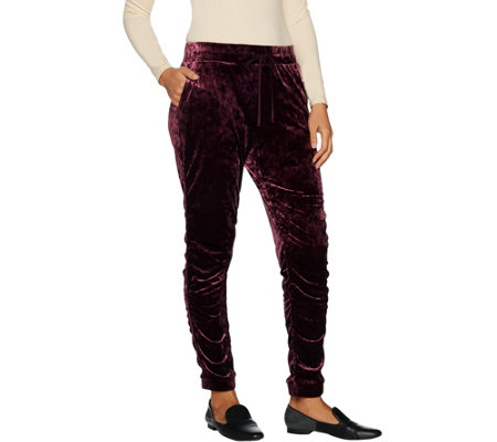 LOGO by Lori Goldstein Panne Velvet Jogger Pant with Ruching