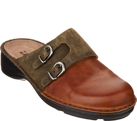 Naot Leather Double Buckle Clogs - Leilani