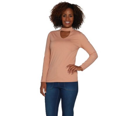 Du Jour Long Sleeve Banded Neck Knit Top