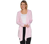 Cuddl Duds Ultra Soft Comfort Drape Front Hooded Cardigan - A301420