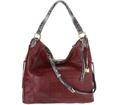 """As Is"" G.I.L.I. Croco Emb. Italian Leather Slouchy Wing Hobo"