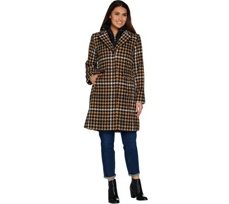 """As Is"" Isaac Mizrahi Live! Houndstooth Coat with Removable Hood"