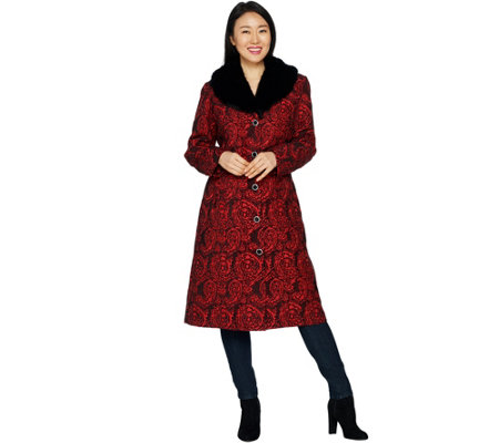"""As Is"" Dennis Basso Brocade Coat with Removable Faux Fur Collar"
