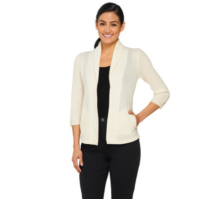 """As Is"" Isaac Mizrahi Live! 2-Ply Cashmere Shawl Collar Cardigan"