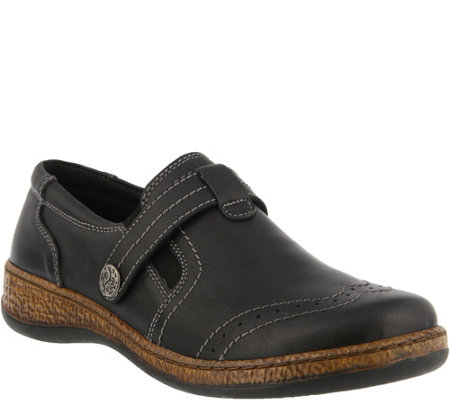 Spring Step Leather Slip-On Shoes - Smolqua