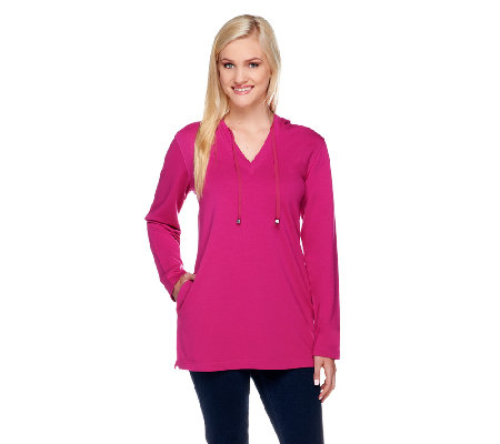 Denim & Co. Stretch French Terry Hooded V-neck Tunic