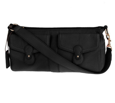 Liz Claiborne Broadway Double Pocket Leather Clutch/Wristlet