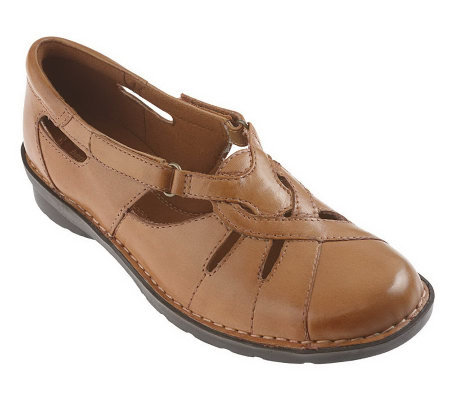 Clarks Leather Cutout Shoe w/ Adj. Strap - Nikki Regatta