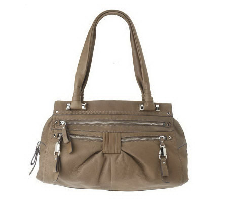 B.Makowsky Glove Leather Zip-Top Satchel with Zipper Pockets