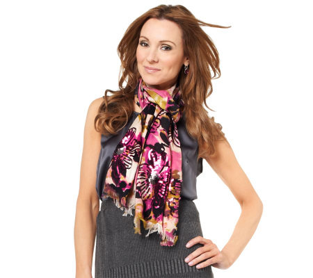 Joan Rivers Watercolor Floral Scarf with Sequin Detail