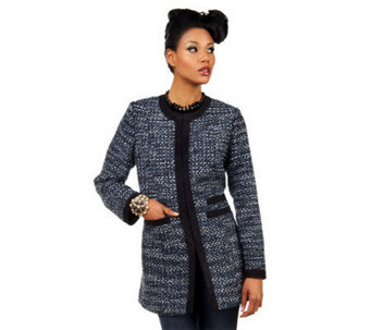 Luxe Rachel Zoe Tweed Jacket w/ Contrast Trim & Hook & Eye Closures - A221821