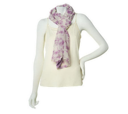 Micky London Floral Print Scarf with Embroidered Trim
