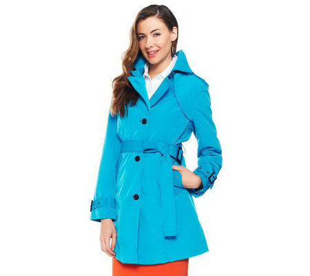 Joan Rivers All About Color Water Resistant Trench Coat