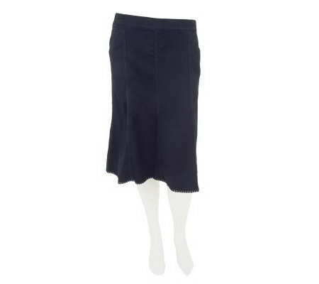 Denim & Co. Fit & Flare Denim Skirt with Pockets & Trim Detail
