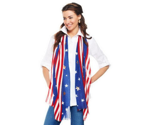 Joan Rivers Patriotic Star Spangled Sequin Scarf