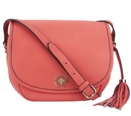 Isaac Mizrahi Live! Bridgehampton Pebble Leather Flap Crossbody