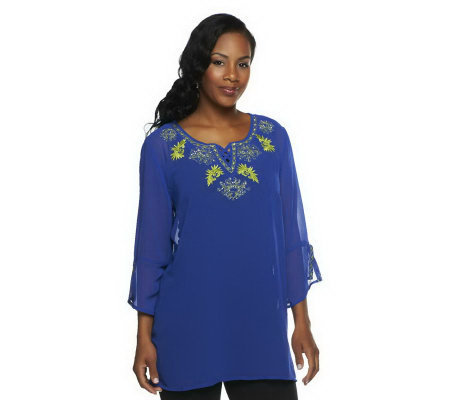 Susan Graver Solid Chiffon Tunic w/ Split Bell Sleeves and Embroidery