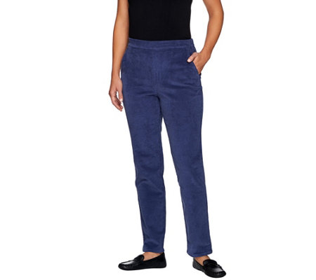 """As Is"" Denim & Co. Regular Classic Waist Narrow Leg Corduroy Pant"