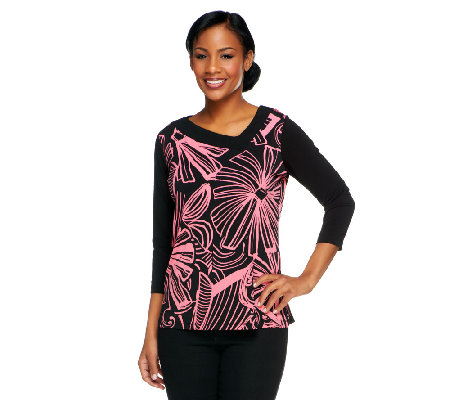 Susan Graver Liquid Knit Printed Top w/ Asymmetrical Neckline