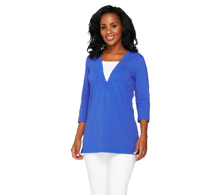 Denim & Co. Perfect Jersey 3/4 Sleeve Tunic w/ Inset Detail
