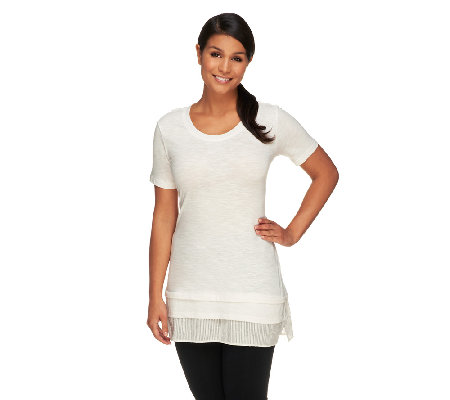 LOGO by Lori Goldstein Cotton Slub Top with Swiss Dot Hem Detail