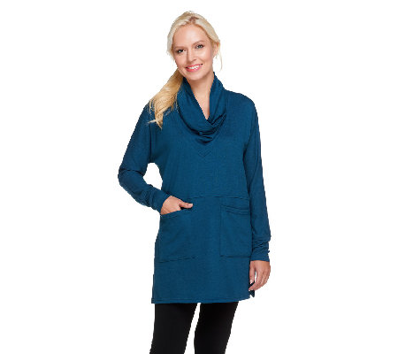 Lisa Rinna Collection Shawl Collar Knit Tunic with Pockets