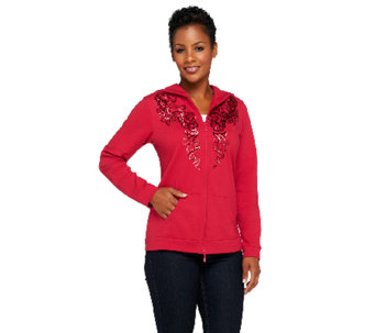 Quacker Factory Shimmer Zip Front Hoodie Jacket - A257621