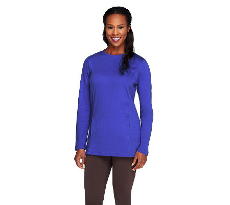 Denim & Co. Active Knit Sweatshirt with Side Panel Quilting Detail