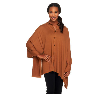 Joan Rivers Cape Style Knit Pullover Top with Buttons
