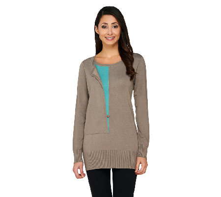 Linea by Louis Dell'Olio Whisper Knit with Contrast Inset Sweater