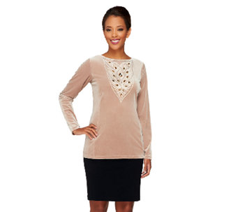 Bob Mackie's Opulent Knit Sequined and Jeweled Top - A259821