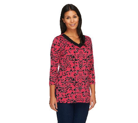 Susan Graver Printed Liquid Knit 3/4 Sleeve Top w/ Trimmed V-Neck
