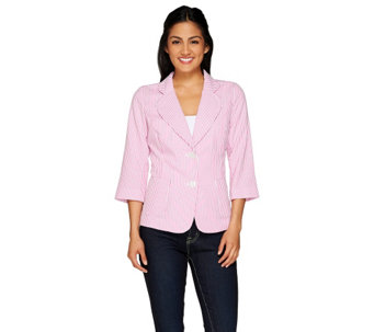 Joan Rivers Seersucker Jacket with 3/4 Sleeve - A262521