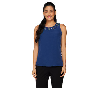 Dennis Basso Woven Tank Top with Embellished Neckline - A262721