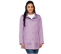 Dennis Basso Water Resistant Perforated Anorak with Hood - A262921