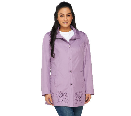 Dennis Basso Water Resistant Perforated Anorak with Hood