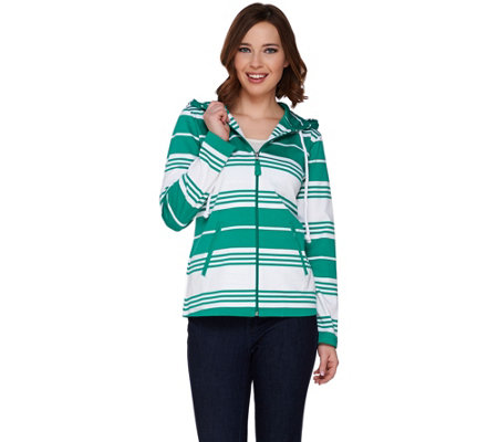 Susan Graver Weekend Striped French Terry Zip Front Jacket w/Hood