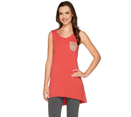 LOGO by Lori Goldstein Scoop Neck Knit Tank with Lace Chest Pocket