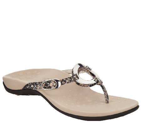 Vionic Orthotic Leather Thong Sandals - Karina