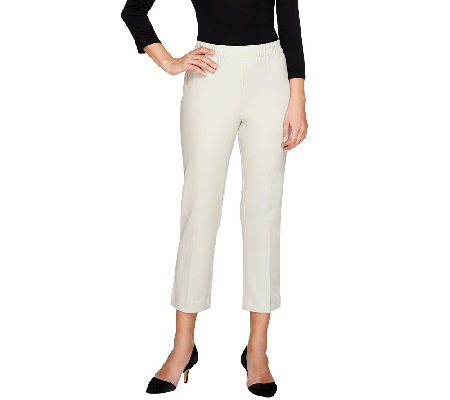 Susan Graver Coastal Stretch Pull-On Crop Pants with Comfort Waist