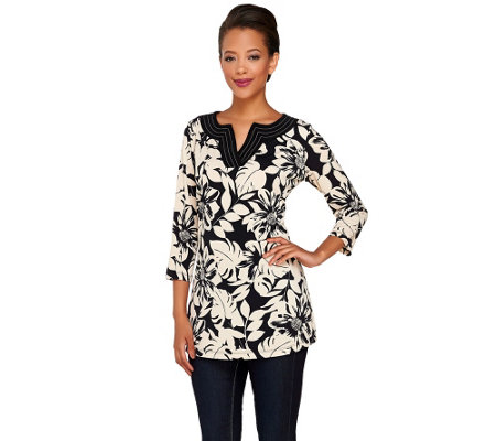 Susan Graver Printed Liquid Knit Split Neck Tunic