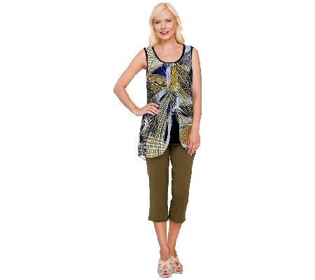Women with Control Printed Chiffon Overlay Top and Capri Pants Set ...