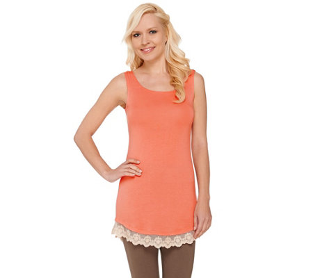 LOGO Layers by Lori Goldstein Petite Knit Tank with Lace Trim
