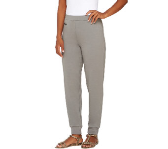 Susan Graver Weekend French Terry Pull-On Slim Leg Ankle Pants - A266821
