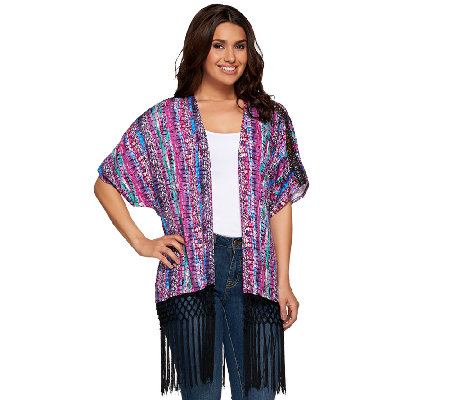 Whitney Port Kimono with Fringe Trim Detail