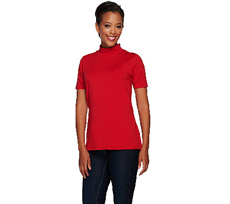 Susan Graver Weekend Cotton Modal Short Sleeve Mock Neck Top