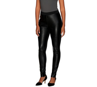 Dennis Basso Mixed Media Ponte and Faux Leather Leggings - A268821